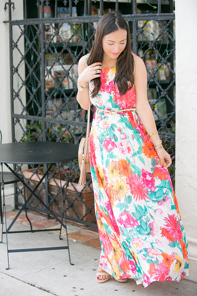 Spring Floral Chiffon Maxi Dress
