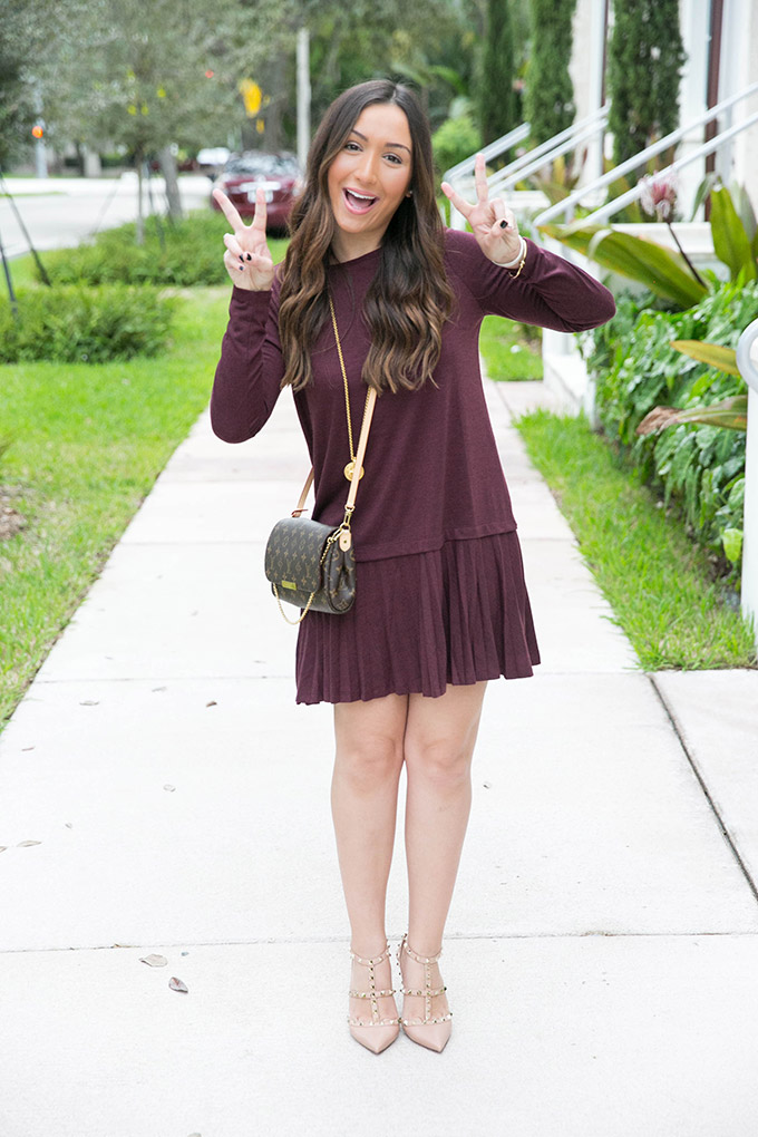 burgundy-pleated-dress