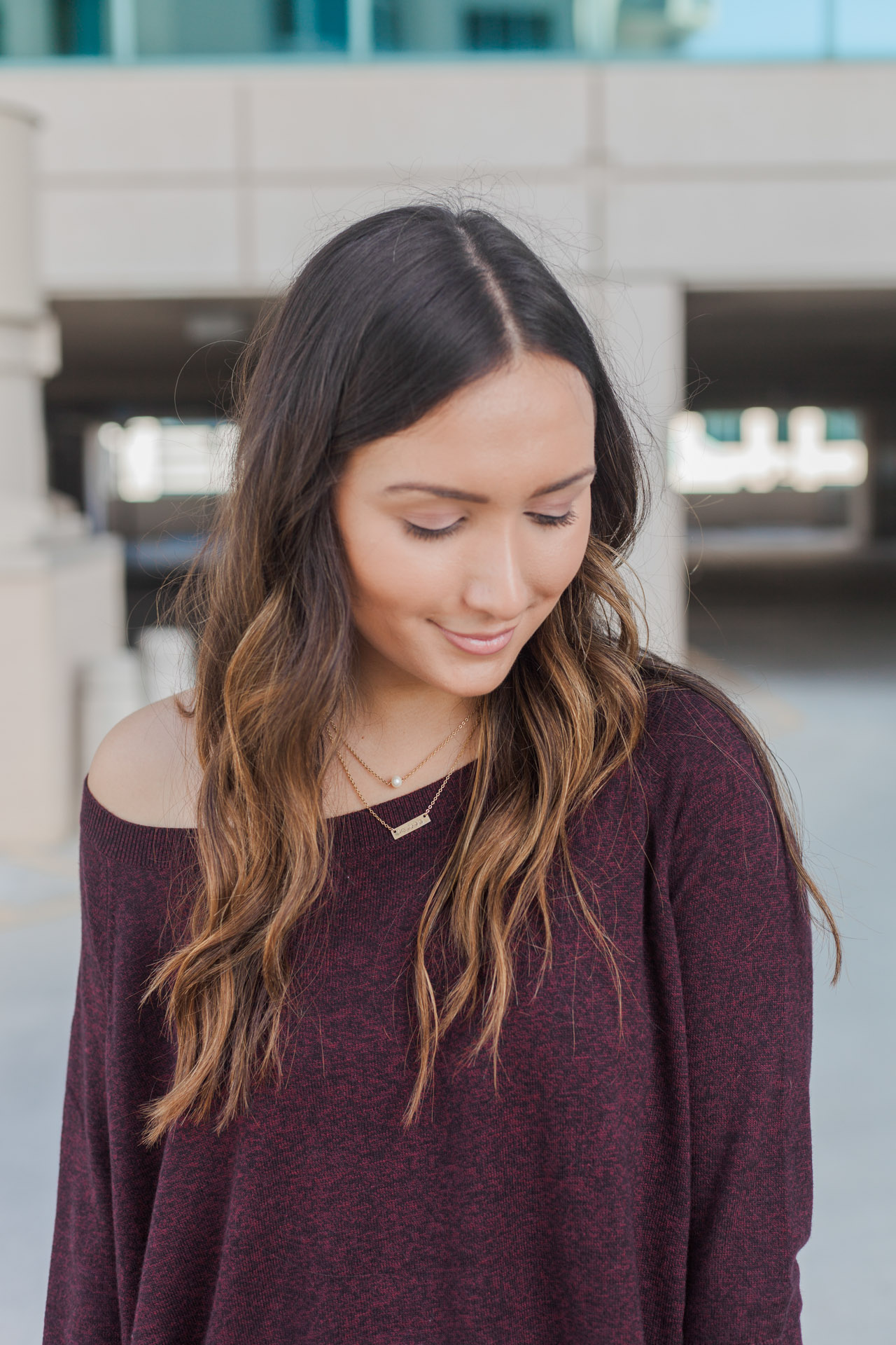 Burgundy sweater under $60 from Express
