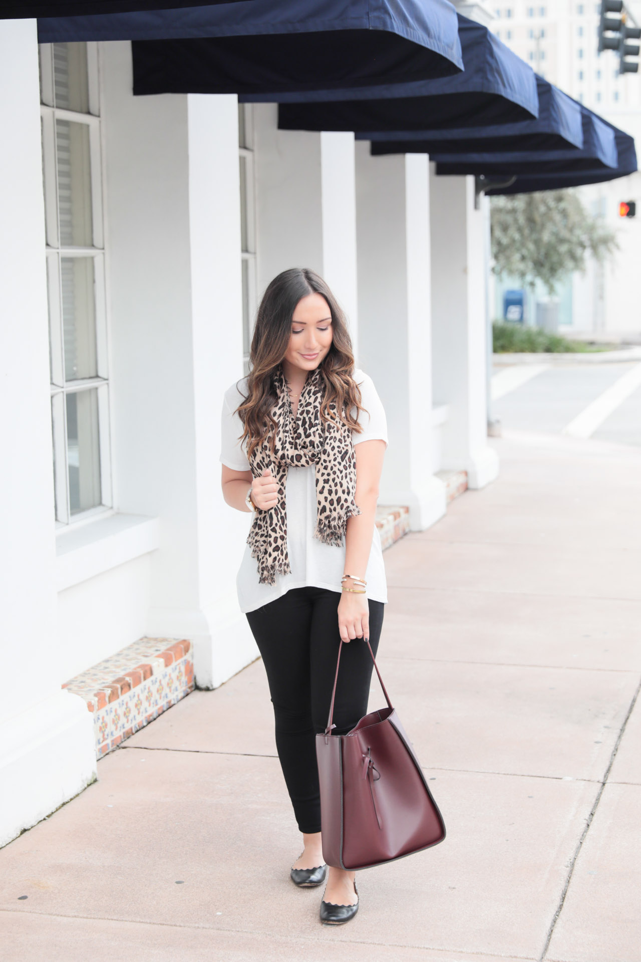 Leopard scarf for fall with oxblood accessories