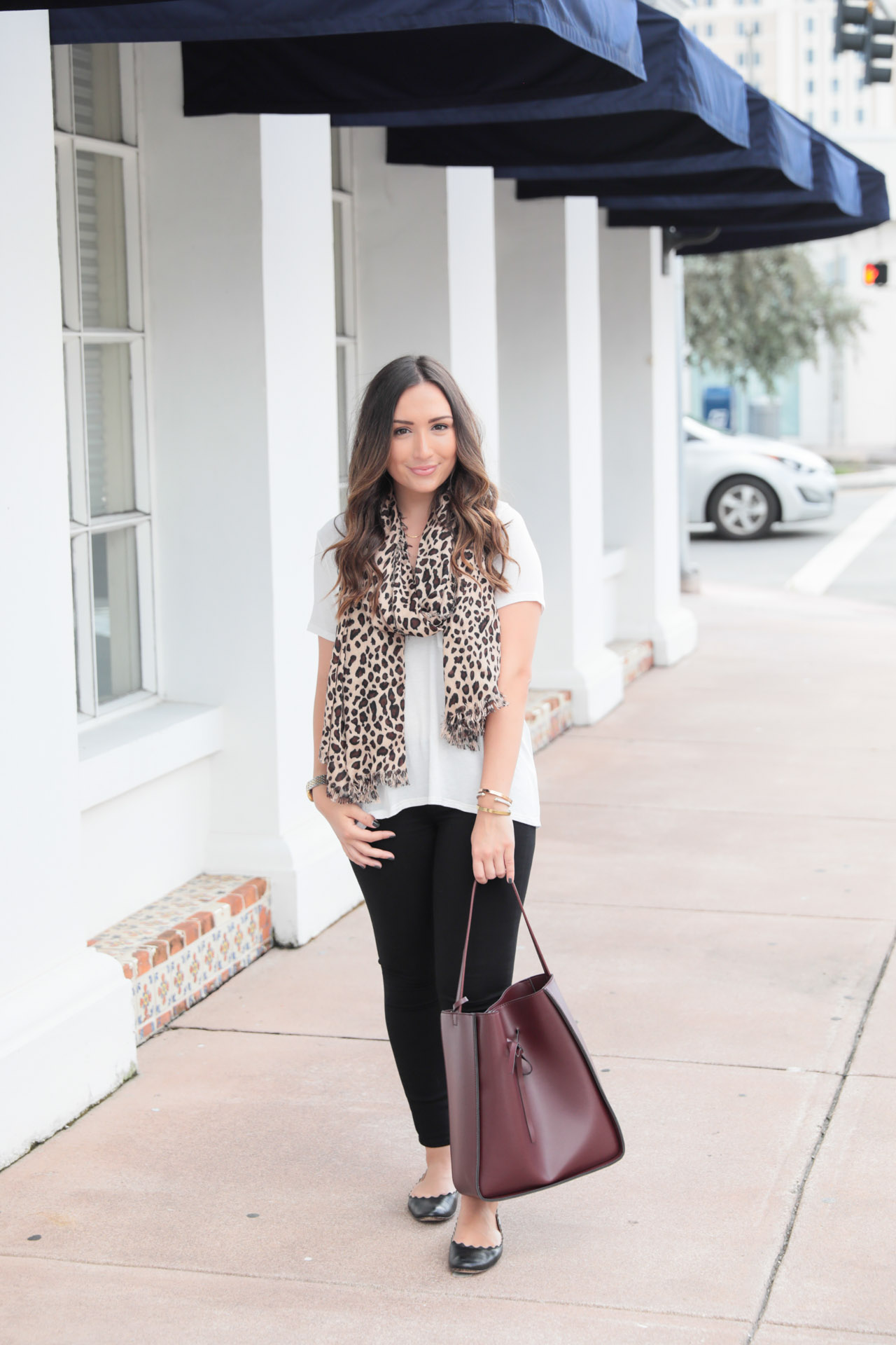 Leopard scarf and oxblood accessories