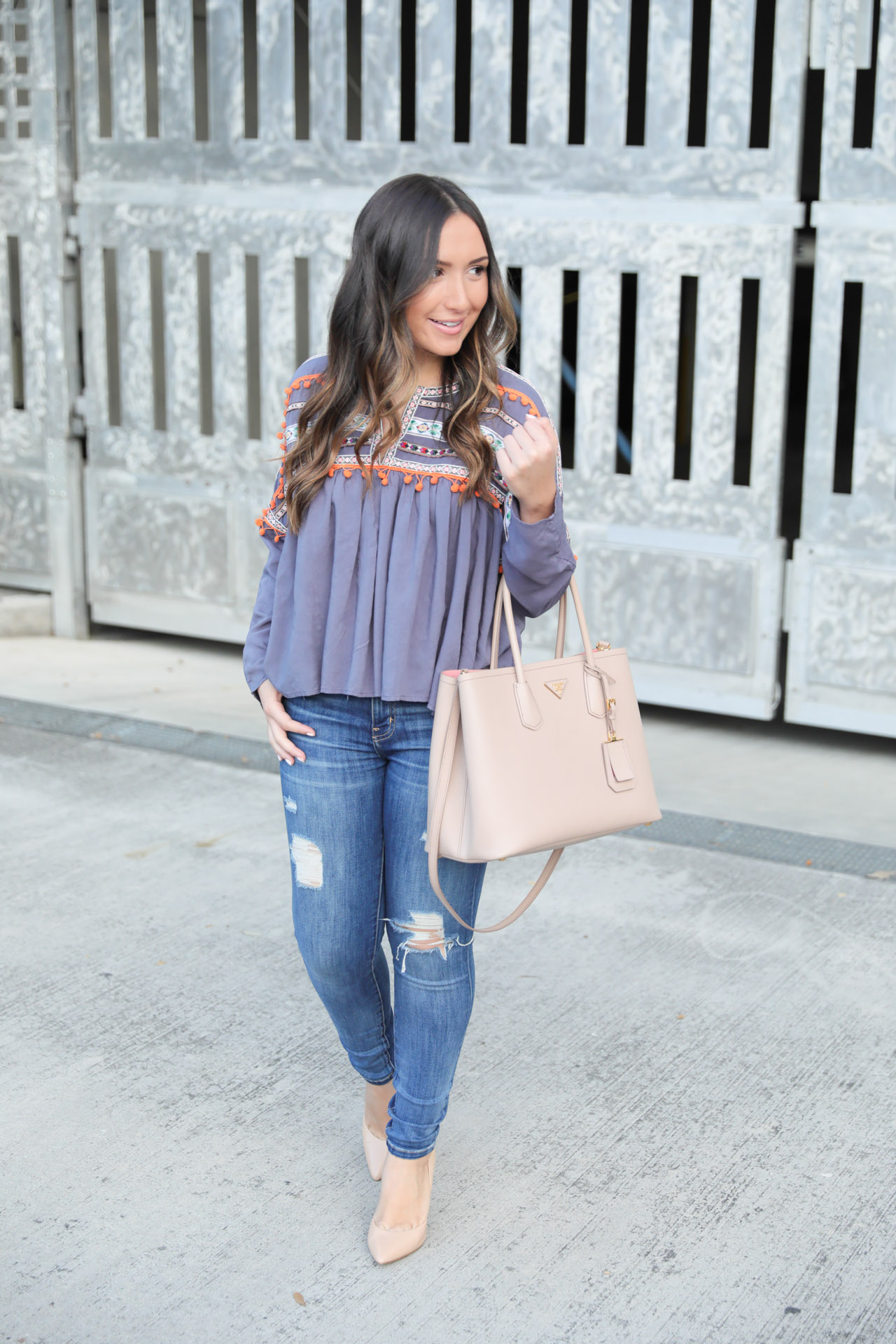 Grey babydoll blouse under $20