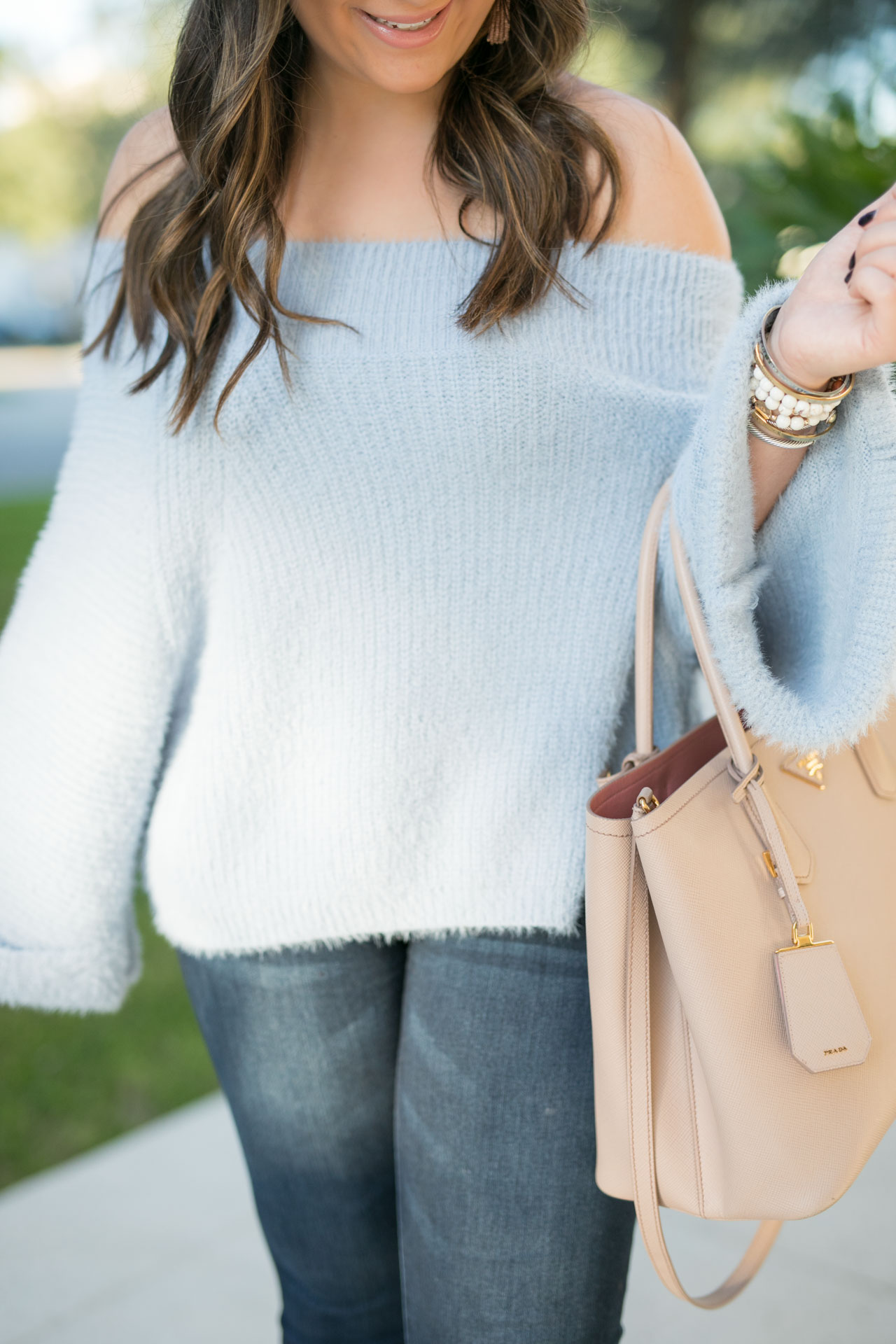 Blue Off The Shoulder Sweater Sales The Fashionista S